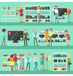 Smiling People In Electronic Store Shopping For vector