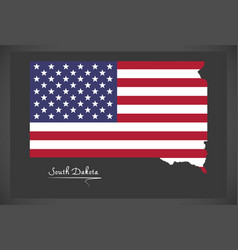 south dakota map with american national flag vector image