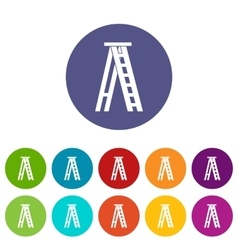 Stepladder set icons vector image
