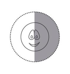 Sticker silhouette emoticon face smile expression vector