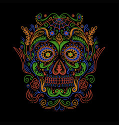 sugar skull decoration colorful vector image