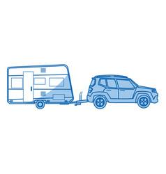 suv car camper trailer travel transport vector image