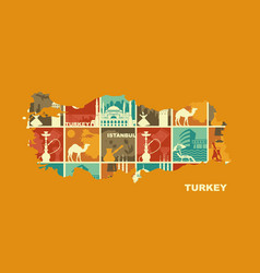 traditional symbols of turkey and istanbul vector image