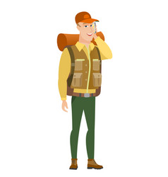 traveler talking on a mobile phone vector image