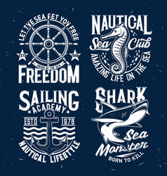 Tshirt prints with ocean animals and typography vector