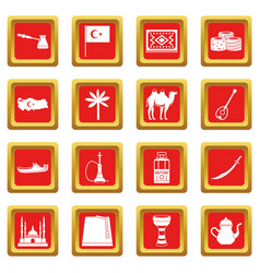 Turkey travel icons set red vector