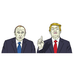 Vladimir putin with donald trump cartoon vector