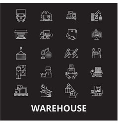 warehouse editable line icons set on black vector image