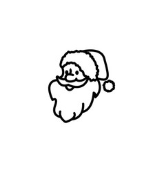 web line icon santa claus black on white vector image