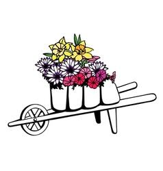 wheelbarrow full flowers vector image