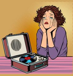 woman listening to sad music retro vinyl record vector image