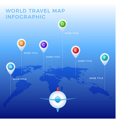 world travel map infographic template color icons vector image