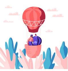Young love couple fly air balloon in sky vector