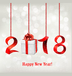 2018 new years background with gift vector image vector image
