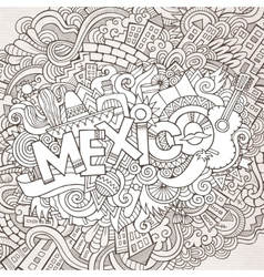 Mexico hand lettering and doodles elements vector image