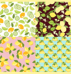 Patterns with lime lemon slices and lemon leaves vector