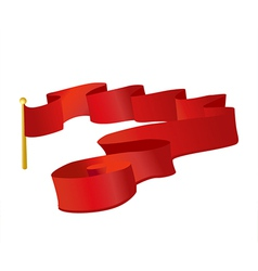 Red ribbon flag in the wind vector image vector image