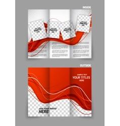 Red wavy tri fold brochure vector image vector image