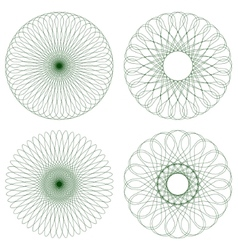 Set of Green Guilloche Rosettes vector image vector image