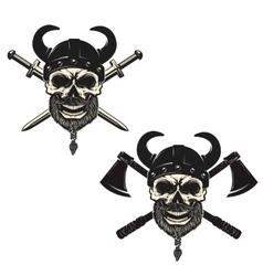 Set of skulls in viking helmets with crossed vector image vector image
