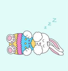 sleeping easter bunny with egg vector image vector image