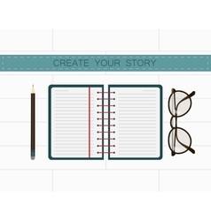 Writer workplace create your story in notes vector
