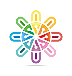 colorful star connect design symbol icon vector image