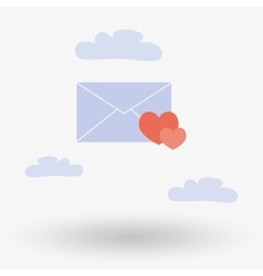 Envelope with two hearts in the clouds vector image
