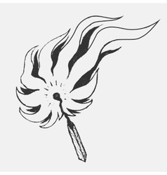 Burning match in style doodle vector