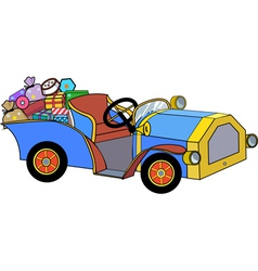car with christmas gifts vector image