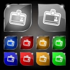 Id card icon sign Set of ten colorful buttons with vector image vector image