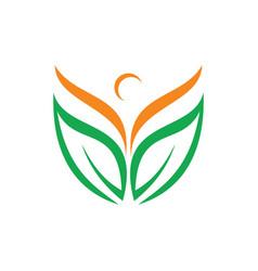 leaf abstract beauty yoga people logo image vector image