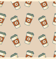 paper coffee cups seamless pattern vector image