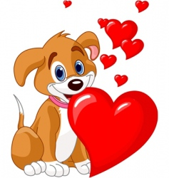 puppy with red heart vector image vector image