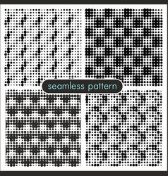 seamless patterns with halftone dots 3 vector image