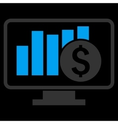 Stock Market Monitoring Flat Icon vector image