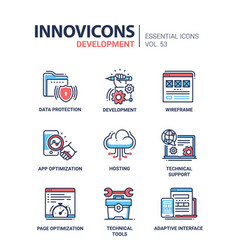 web page development - modern line icons vector image vector image
