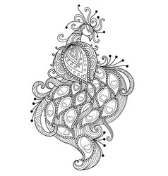 zendoodle stylized of beautiful peacock vector image vector image