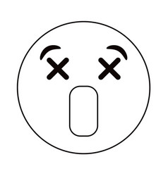 dizzy emoticon style thin line vector image vector image