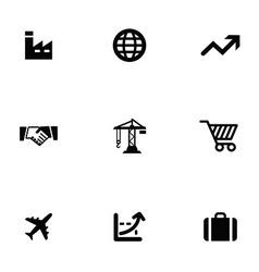 Economy 9 icons set vector