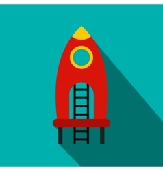 Red rocket with stairs on a playground flat icon vector image vector image