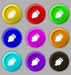 USB icon sign symbol on nine round colourful vector image