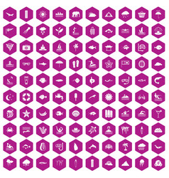 100 diving icons hexagon violet vector