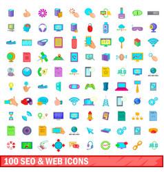 100 seo and web icons set cartoon style vector