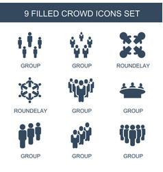 9 crowd icons vector