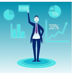 A businessman stands on a blue background and vector