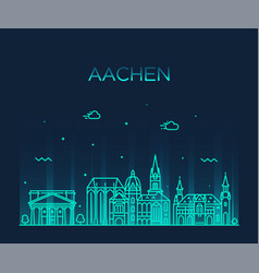 aachen north rhine westphalia germany line vector image