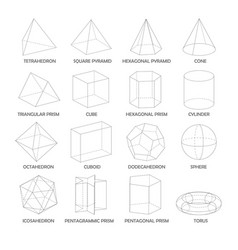 all basic 3d shapes template realistic vector image