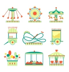Amusement Park Elements Set vector
