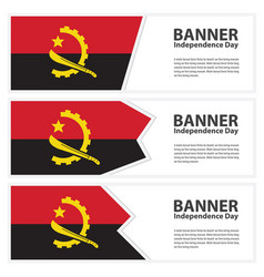 Angola flag banners collection independence day vector